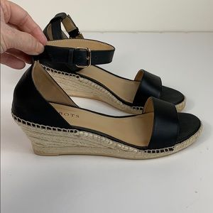Talbots black leather rope wedge strappy  sandals